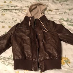Faux leather built in hoodie jacket!